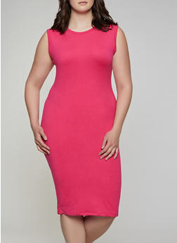 Plus Size Solid Bodycon Dress - 3930062703141