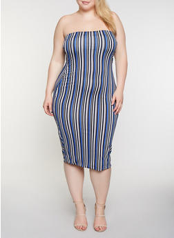 Plus Size Striped Midi Tube Dress - 3930062703142