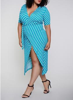 Plus Size Midi Striped Wrap Dress - 3930062703147