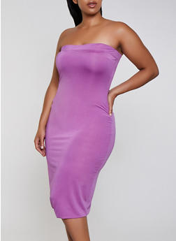 Plus Size Solid Tube Dress - 3930062703155