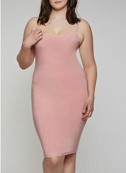 Plus Size Solid Cami Dress - 3930062703164