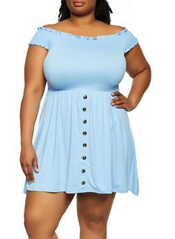 Plus Size Button Detail Smocked Off the Shoulder Dress - 3930062703288
