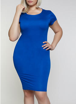 Plus Size Short Sleeve Bodycon Dress - 3930062705315