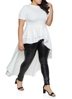 Plus Size Scuba Knit Tiered High Low Top - 3930062705318