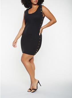 Plus Size Studded Sweater Dress - 3930062707083