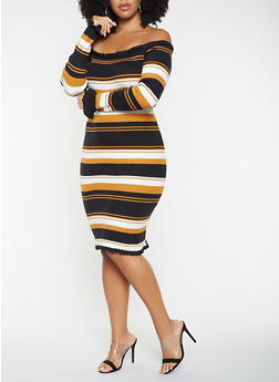 Plus Size Striped Off the Shoulder Sweater Dress - 3930062707086