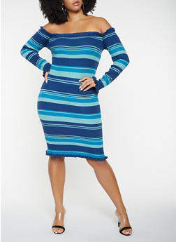 fc4cae3f5e Plus Size Striped Off the Shoulder Sweater Dress - 3930062707086