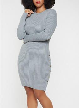Plus Size Sweater Dress - GRAY - 3930062707101