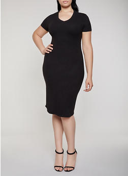 Plus Size Soft Knit V Neck T Shirt Dress - 3930062707123