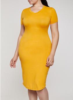 Plus Size Soft Knit V Neck T Shirt Dress - 3930062707123