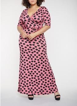Plus Size Polka Dot Faux Wrap Maxi Dress - 3930062707751