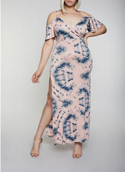 Plus Size Tie Dye Cold Shoulder Maxi Dress - 3930062707752