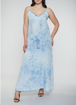 Plus Size Cloud Wash Maxi Dress - 3930063402351