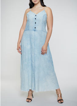 Plus Size Half Button Denim Maxi Dress - 3930063402373