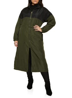 Plus Size Color Block Windbreaker Maxi Dress - 3930063403320