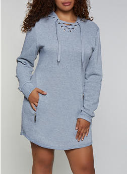 Plus Size Lace Up Sweatshirt Dress - 3930063404787
