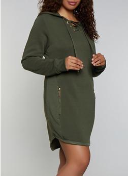 Plus Size Lace Up Sweatshirt Dress - 3930063404787
