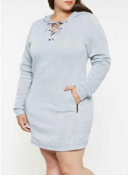 Plus Size Moto Sweatshirt Dress - 3930063407874