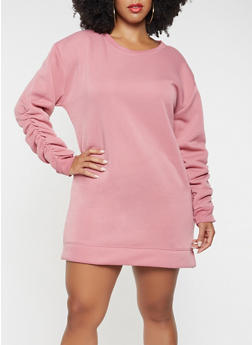 Plus Size Ruched Sleeve Sweatshirt Dress - 3930063408037