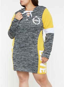 Plus Size Love Graphic Sweatshirt Dress - 3930063408101