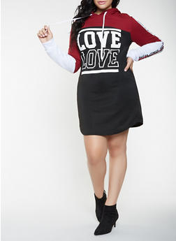 Plus Size Love Graphic Sweatshirt Dress - 3930063408104