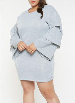 Plus Size Tiered Sleeve Sweatshirt Dress - 3930063408267