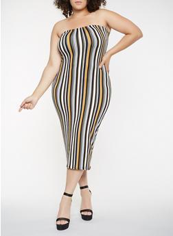 Plus Size Soft Knit Striped Tube Dress - 3930068510133