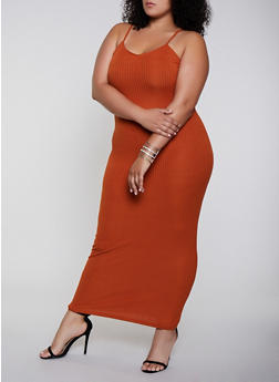 Plus Size Rib Knit Cami Maxi Dress - 3930068510419