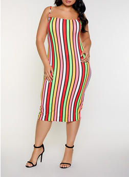 Plus Size Vertical Stripe Bodycon Dress - 3930068514343