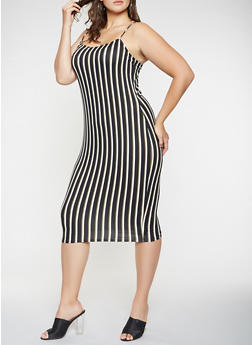 Plus Size Striped Soft Knit Tank Dress - 3930068514353