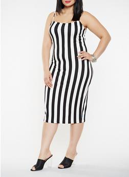 Plus Size Soft Knit Striped Tank Dress - BLACK - 3930068514354
