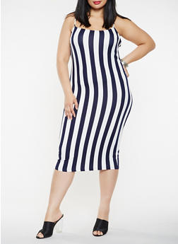 Plus Size Soft Knit Striped Tank Dress - 3930068514354
