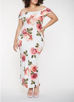 Plus Size Off the Shoulder Floral Maxi Dress - 3930068514363