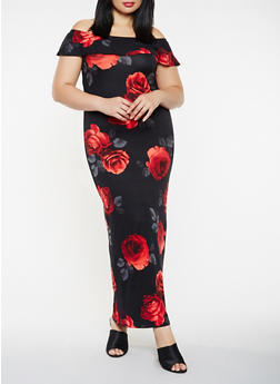 Plus Size Off the Shoulder Floral Maxi Dress - 3930068514363