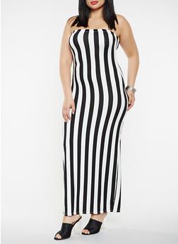 Plus Size Striped Tube Maxi Dress - 3930068514365