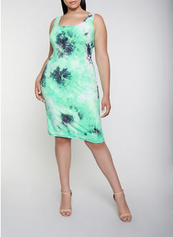 Plus Size Soft Knit Midi Tie Dye Tank Dress - 3930068514450