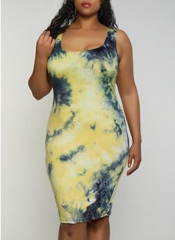 Plus Size Soft Knit Midi Tie Dye Tank Dress - 3930068514450