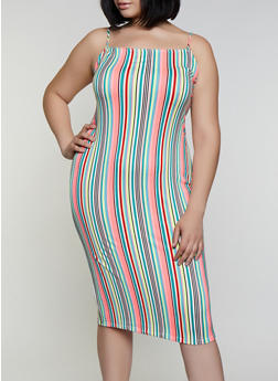 Plus Size Soft Knit Striped Bodycon Dress - 3930068515252