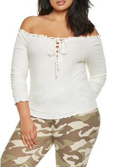 Plus Size Lace Up Off the Shoulder Top - 3930069390109