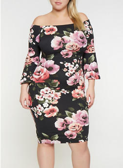 Plus Size Floral Off the Shoulder Dress - 3930069390265