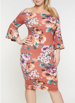 Plus Size Floral Off the Shoulder Dress - 3930069390265