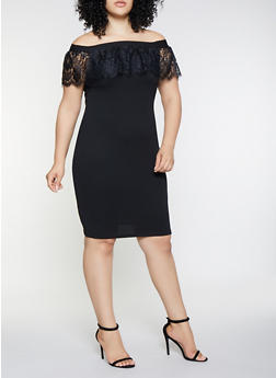 Plus Size Off the Shoulder Lace Ruffle Dress - 3930069390322