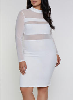 Plus Size Mesh Detail Bodycon Dress - 3930069390377