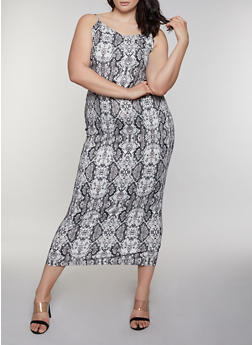 Plus Size Snake Print Cami Maxi Dress - 3930069390456