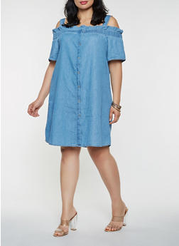 Plus Size Off the Shoulder Chambray Dress - 3930069390484
