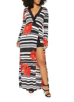 Plus Size Faux Wrap Printed Maxi Romper - BLACK/WHITE - 3930069390540