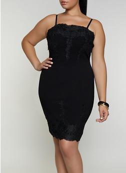 Plus Size Crochet Detail Bodycon Dress - 3930069390665
