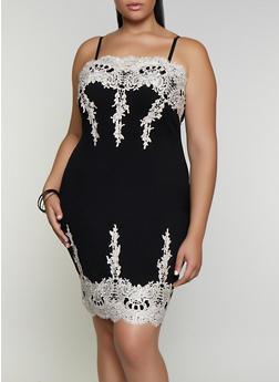 Plus Size Crochet Detail Bodycon Dress - 3930069390665