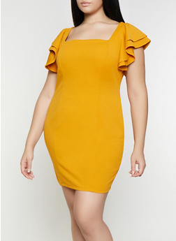 Plus Size Square Neck Tiered Sleeve Dress - 3930069390713