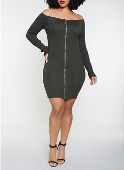Plus Size Off the Shoulder Sweater Dress - 3930069390764